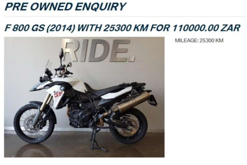 BMW F800 GS with 20 985km and lots of extras 0