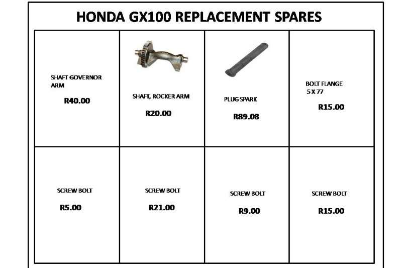 HONDA REPLACEMENT SPARES GX100 & G100 Other