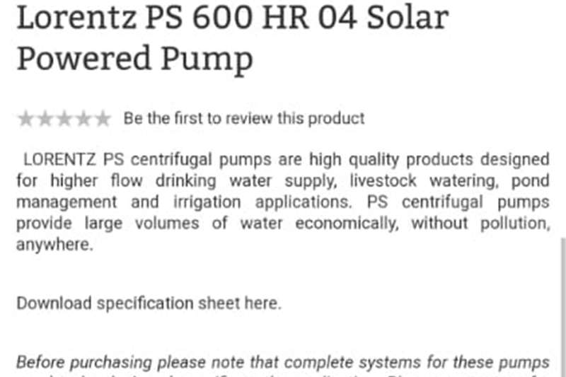 Sprinklers and pivots Lorentz Solar powered pump with control box and  p Irrigation