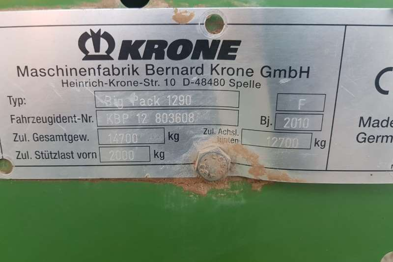 Krone Hay and Forage KRONE HDP 1290 BALER - 26000 BALE 2010