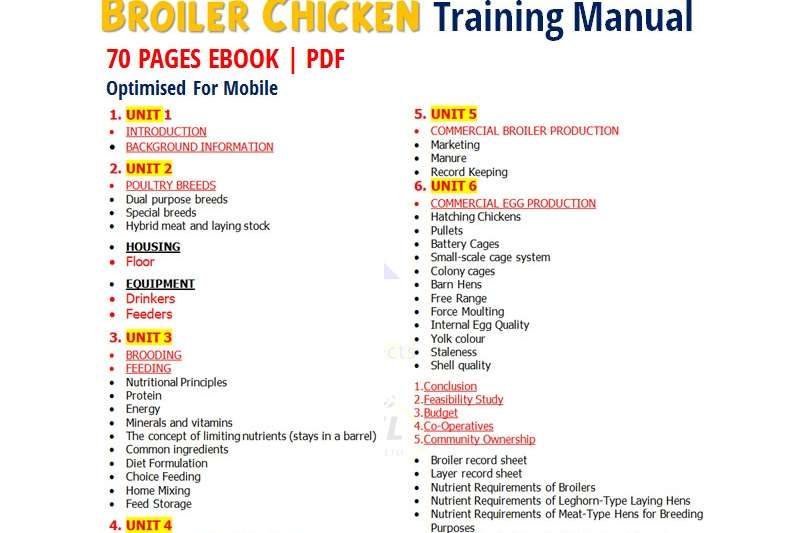 Farming Chicken Broiler Training Manual | 70 PAGES E BOOK Machinery