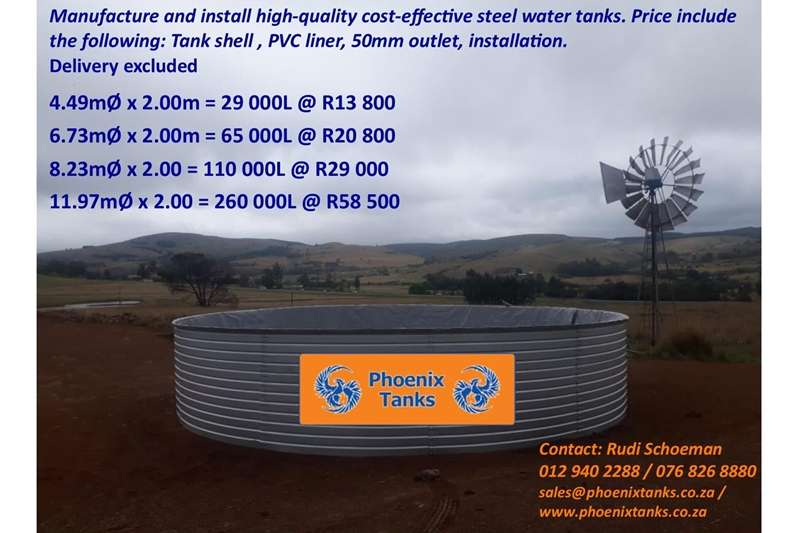 Zincalume Steel Water Tanks (Reservoirs/damms) Other