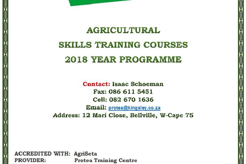 """Agricultural skills training courses: """"On site"""" Services"""