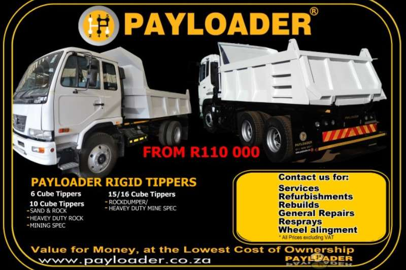 6 & 10 Cube Rigid Tippers Truck bodies